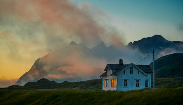 Midnight sun over the Lofoten islands